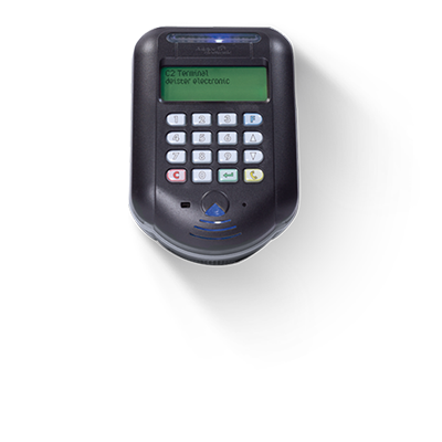 C2 Key Cabinet Access Terminals - Have an LCD screen. Operate by Fob, Card and Pin.